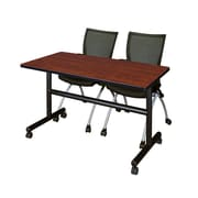 "Regency Kobe 48"" Flip Top Mobile Training Table- Cherry and 2 Apprentice Chairs- Black (MKFT4824CH09BK)"