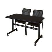 "Regency Kobe 48"" Flip Top Mobile Training Table- Mocha Walnut and 2 Mario Stack Chairs- Black (MKFT4824MW75BK)"