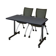 "Regency Kobe 42"" x 24"" Mobile Training Table- Grey and 2 Apprentice Chairs- Black  (MKTRCC42GY09BK)"