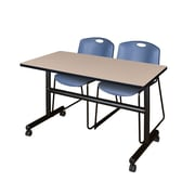 "Regency Kobe 48"" Flip Top Mobile Training Table- Beige and 2 Zeng Stack Chairs- Blue (MKFT4824BE44BE)"