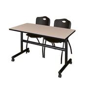 "Regency Kobe 48"" Flip Top Mobile Training Table- Beige and 2 'M' Stack Chairs- Black (MKFT4824BE47BK)"