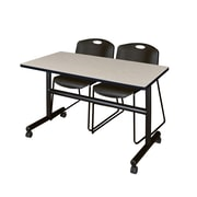 "Regency Kobe 48"" Flip Top Mobile Training Table- Maple and 2 Zeng Stack Chairs- Black (MKFT4824PL44BK)"