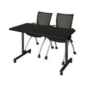"Regency Kobe 42"" x 24"" Mobile Training Table- Mocha Walnut and 2 Apprentice Chairs- Black  (MKTRCC42MW09BK)"