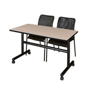 "Regency Kobe 48"" Flip Top Mobile Training Table- Beige and 2 Mario Stack Chairs- Black (MKFT4824BE75BK)"