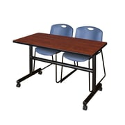 "Regency Kobe 48"" Flip Top Mobile Training Table- Cherry and 2 Zeng Stack Chairs- Blue (MKFT4824CH44BE)"