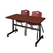 "Regency Kobe 48"" Flip Top Mobile Training Table- Cherry and 2 'M' Stack Chairs- Burgundy (MKFT4824CH47BY)"