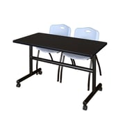 "Regency Kobe 48"" Flip Top Mobile Training Table- Mocha Walnut and 2 'M' Stack Chairs- Grey (MKFT4824MW47GY)"