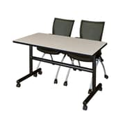 "Regency Kobe 48"" Flip Top Mobile Training Table- Maple and 2 Apprentice Chairs- Black (MKFT4824PL09BK)"