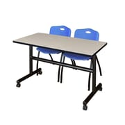"Regency Kobe 48"" Flip Top Mobile Training Table- Maple and 2 'M' Stack Chairs- Blue (MKFT4824PL47BE)"