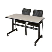 """Regency Kobe 48"""" Flip Top Mobile Training Table- Maple and 2 Mario Stack Chairs- Black (MKFT4824PL75BK)"""