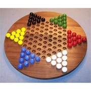 THE PUZZLE-MAN TOYS Wooden Marble Game Board - Chinese Checkers Oiled 18 in. Circle - Black Walnut( CRWP362)