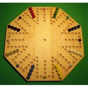 THE PUZZLE-MAN TOYS Wooden Marble Game Board - Aggravation - New 22 in. Octagon - 8-Player 6-Hole - Hard Maple( CRWP418)