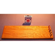 THE PUZZLE-MAN TOYS Wooden Cribbage Game Board in Red Oak Plus Scoring Pegs Deck Of Cards( CRWP239)