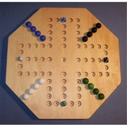 THE PUZZLE-MAN TOYS Wooden Marble Game Board - Aggravation - 18 in. Octagon - 4-Player 5-Hole - Hard Maple( CRWP379)