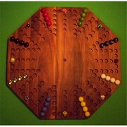 THE PUZZLE-MAN TOYS Wooden Marble Game Board - Aggravation - New 22 in. Octagon - 8-Player 6-Hole - Walnut( CRWP420)