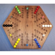 THE PUZZLE-MAN TOYS Wooden Marble Game Board - Aggravation - 18 in. Hexagon - 6-Player 5-Hole - Black Walnut( CRWP385)