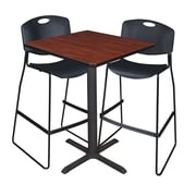 "Regency Cain 30"" Square Cafe Table- Cherry and 2 Zeng Stack Stools- Black (TCB3030CH4495BK)"