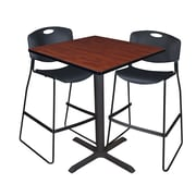 """Regency Cain 36"""" Square Cafe Table- Cherry and 2 Zeng Stack Stools- Black (TCB3636CH4495BK)"""