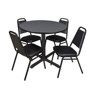 """Regency Cain 36"""" Round Breakroom Table- Grey and 4 Restaurant Stack Chairs- Black (TB36RNDGY29BK)"""