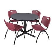 """Regency Cain 48"""" Round Breakroom Table- Grey and 4 'M' Stack Chairs- Burgundy (TB48RNDGY47BY)"""