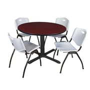 "Regency Cain 48"" Round Breakroom Table- Mahogany and 4 'M' Stack Chairs- Grey (TB48RNDMH47GY)"