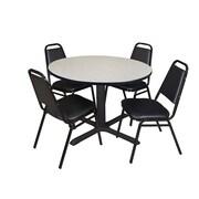 "Regency Cain 48"" Round Breakroom Table- Maple and 4 Restaurant Stack Chairs- Black (TB48RNDPL29BK)"