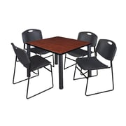 "Regency Kee 42"" Square Breakroom Table- Cherry/ Black and 4 Zeng Stack Chairs- Black (TB4242CHPBK44BK)"
