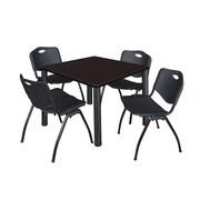 "Regency Kee 42"" Square Breakroom Table- Mocha Walnut/ Black and 4 'M' Stack Chairs- Black (TB4242MWPBK47BK)"