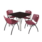 """Regency Kee 42"""" Square Breakroom Table- Mocha Walnut/ Chrome and 4 'M' Stack Chairs- Burgundy (TB4242MWPCM47BY)"""