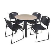 """Regency Kee 42"""" Round Breakroom Table- Beige/ Black and 4 Zeng Stack Chairs- Black (TB42RDBEPBK44BK)"""