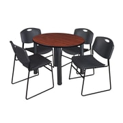"""Regency Kee 42"""" Round Breakroom Table- Cherry/ Black and 4 Zeng Stack Chairs- Black (TB42RDCHPBK44BK)"""