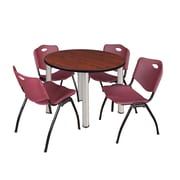 "Regency Kee 42"" Round Breakroom Table- Cherry/ Chrome and 4 'M' Stack Chairs- Burgundy (TB42RDCHPCM47BY)"