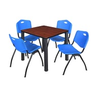 """Regency Kee 30"""" Square Breakroom Table- Cherry/ Black and 4 'M' Stack Chairs- Blue (TB3030CHPBK47BE)"""