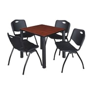 """Regency Kee 30"""" Square Breakroom Table- Cherry/ Black and 4 'M' Stack Chairs- Black (TB3030CHPBK47BK)"""