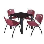"Regency Kee 30"" Square Breakroom Table- Mocha Walnut/ Black and 4 'M' Stack Chairs- Burgundy (TB3030MWPBK47BY)"