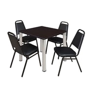 "Regency Kee 30"" Square Breakroom Table- Mocha Walnut/ Chrome and 4 Restaurant Stack Chairs- Black (TB3030MWPCM29BK)"