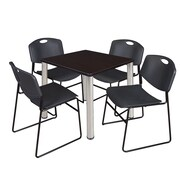 "Regency Kee 30"" Square Breakroom Table- Mocha Walnut/ Chrome and 4 Zeng Stack Chairs- Black (TB3030MWPCM44BK)"
