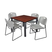 "Regency Kee 36"" Square Breakroom Table- Cherry/ Black and 4 Zeng Stack Chairs- Grey (TB3636CHPBK44GY)"