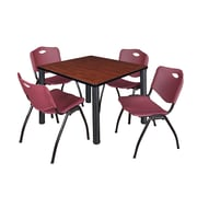 "Regency Kee 36"" Square Breakroom Table- Cherry/ Black and 4 'M' Stack Chairs- Burgundy (TB3636CHPBK47BY)"