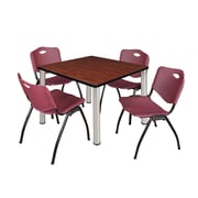 """Regency Kee 36"""" Square Breakroom Table- Cherry/ Chrome and 4 'M' Stack Chairs- Burgundy (TB3636CHPCM47BY)"""