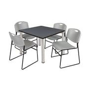 """Regency Kee 36"""" Square Breakroom Table- Grey/ Chrome and 4 Zeng Stack Chairs- Grey (TB3636GYPCM44GY)"""
