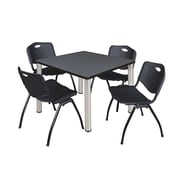 "Regency Kee 36"" Square Breakroom Table- Grey/ Chrome and 4 'M' Stack Chairs- Black (TB3636GYPCM47BK)"