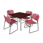"""Regency Kee 36"""" Square Breakroom Table- Mahogany/ Chrome and 4 Zeng Stack Chairs- Burgundy (TB3636MHPCM44BY)"""