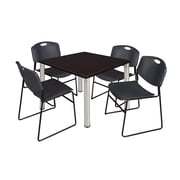"""Regency Kee 36"""" Square Breakroom Table- Mocha Walnut/ Chrome and 4 Zeng Stack Chairs- Black (TB3636MWPCM44BK)"""
