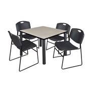 "Regency Kee 36"" Square Breakroom Table- Maple/ Black and 4 Zeng Stack Chairs- Black (TB3636PLPBK44BK)"