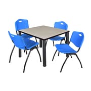 "Regency Kee 36"" Square Breakroom Table- Maple/ Black and 4 'M' Stack Chairs- Blue (TB3636PLPBK47BE)"