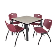 "Regency Kee 36"" Square Breakroom Table- Maple/ Black and 4 'M' Stack Chairs- Burgundy (TB3636PLPBK47BY)"