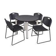 """Regency Kee 42"""" Round Breakroom Table- Grey/ Chrome and 4 Zeng Stack Chairs- Black (TB42RDGYPCM44BK)"""