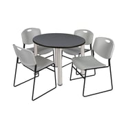 "Regency Kee 42"" Round Breakroom Table- Grey/ Chrome and 4 Zeng Stack Chairs- Grey (TB42RDGYPCM44GY)"