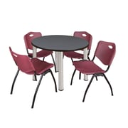 "Regency Kee 42"" Round Breakroom Table- Grey/ Chrome and 4 'M' Stack Chairs- Burgundy (TB42RDGYPCM47BY)"